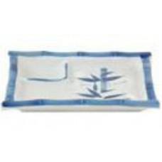 "7 3/8"" x 3.5"" Blue Ceramic Japanese Style Plate"