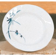 "Blue Bamboo - 8"" Curved Rim Round Plate"