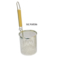 "5 1/2"" x 6"" Flat Bottom Noodle Skimmer with Wooden Handle S/S"