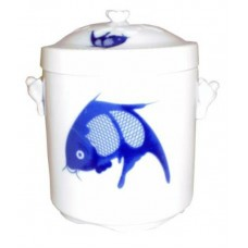 "44oz Steamer (6 1/2"" H; 5 1/2""D) - Ceramic Blue Fish Pattern"