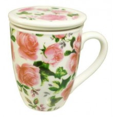 10oz Cup w/Strainer & Lid - Pink Rose Design