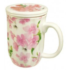 10oz Cup w/Strainer & Lid - Pink Flower Design