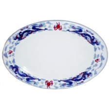 "12"" Oval Plate - Ceramic Blue Dragon Pattern"