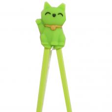 "Training Chopsticks 7""L - Green Cat"